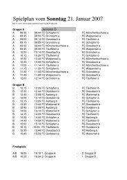 Spielplan vom Sonntag 21. Januar 2007 - FC Schüpfen