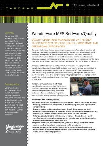 Wonderware MES Software/Quality - Klinkmann.