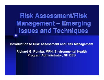 Risk Assessment/Risk Management - Environmental Business ...