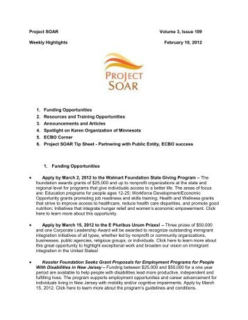 Project SOAR Volume 3, Issue 109 Weekly Highlights February 10 ...