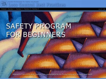 FPSH Chapter 6 Reducing Claims With a Seven Step Safety Program