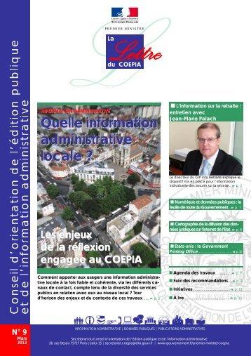 Lettre du Coepia n° 9 - Mars 2013 - Portail du Gouvernement