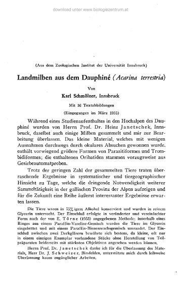 Landmilben aus dem Dauphiné (Acarina terrestria)