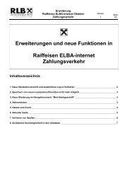 Erweiterungen und neue Funktionen in Raiffeisen ELBA-internet ...