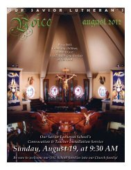 Sunday, August 19, at 9:30 Am - Our Savior Lutheran Church