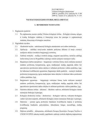 Studijų reglamentas - Vilniaus Kolegija