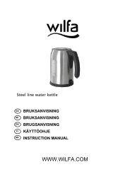 bruksanvisning bruksanvisning brugsanvisning käyttöohje ... - Wilfa