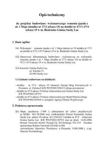Remont zjazdu z ul. 1 Maja (działka nr 37/2) na ... - Gmina Suchy Las
