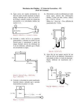 Lista de Mecanica dos Fluidos P2 - Sistemas