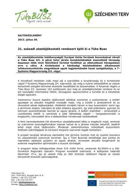 Elnök/Irányító Hatóság/Elnökhelyettesség - T-Systems
