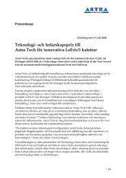 Teknologi- och ledarskapspris till Astra Tech för innovativa LoFric ...