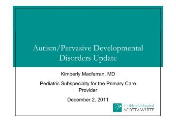 Autism/Pervasive Developmental Disorders Update - Healthcare ...