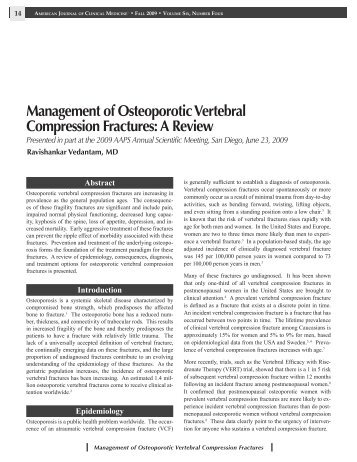 Management of Osteoporotic Vertebral Compression Fractures: A ...