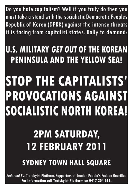 stop the capitalists' provocations against socialistic north korea! 2pm ...