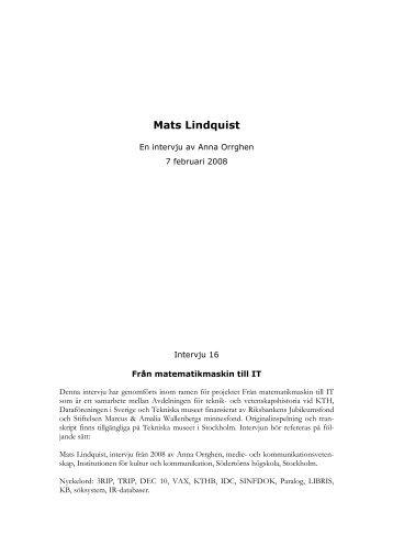 Microsoft Word - Mats Lindquist - Tekniska museet