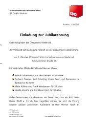 Einladung Jubilarehrung - SPD Frankfurt