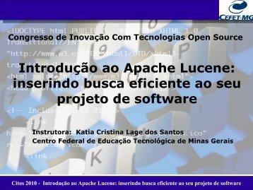 Citos 2010 - Introdução ao Apache Lucene - UNIVEM Aberto