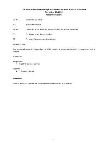BOE 11 15 12 Report and Executive Summary - Oak Park and River ...