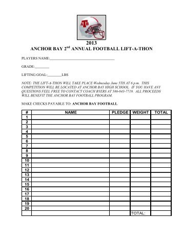 run a thon pledge sheet