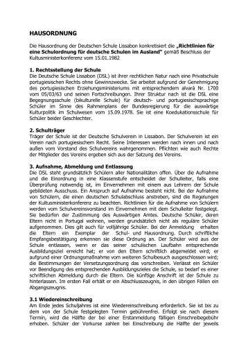 HAUSORDNUNG - Deutsche Schule Lissabon