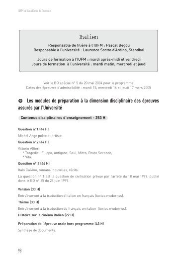 Italien - Site auxiliaire de l'IUFM de l'académie de Grenoble