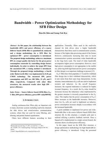 Bandwidth – Power Optimization Methodology for SFB Filter ... - JSTS