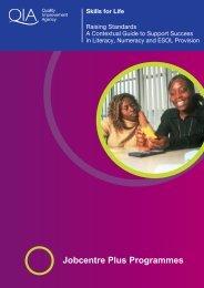 Jobcentre Plus Programmes - Skills for Life Improvement ...