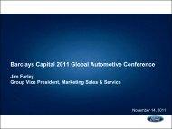 Barclays Capital 2011 Global Automotive Conference