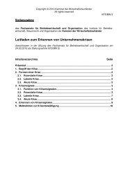 Leitfaden zum Erkennen von Unternehmenskrisen - Kammer der ...