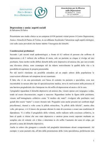 Depressione e ansia: aspetti sociali - Associazione per la Ricerca ...