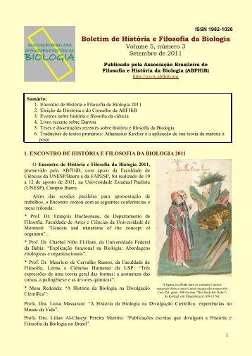 Boletim de História e Filosofia da Biologia, volume 5 ... - ABFHiB