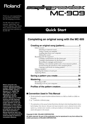 MC909 Quick start Guide - SampleKings