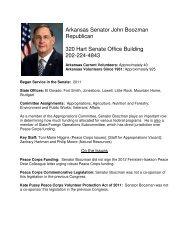 Arkansas Senator John Boozman Republican 320 Hart Senate ...