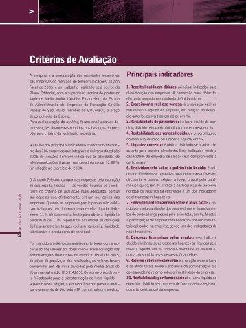 Critérios de Avaliação - Anuário Telecom