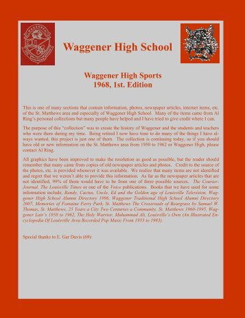 Waggener High Sports, 1968, 1st. Edition - RingBrothersHistory.com