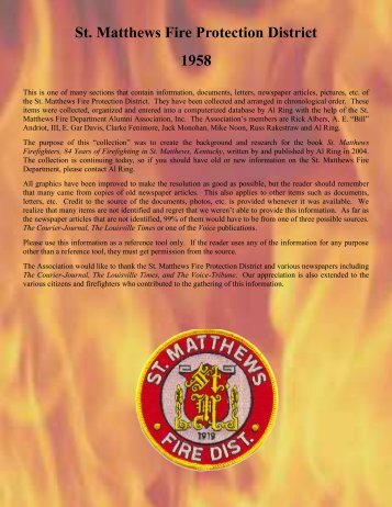 St. Matthews Fire Protection District 1958 - RingBrothersHistory.com