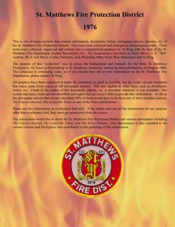 St. Matthews Fire Protection District 1976 - RingBrothersHistory.com