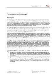 Positionspapier Sonderpädagogik - Schule und Elternhaus Schweiz