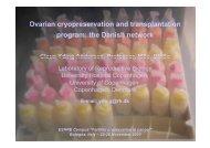 Ovarian cryopreservation and transplantation program: the ... - eshre