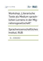 """Workshop """"Literarische Texte als Medium sprachlichen Lernens in ..."""