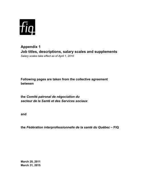 Job titles, descriptions, salary scales and supplements - FiQ