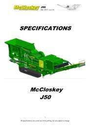 SPECIFICATIONS McCloskey J50 - Best Machinery Kft.