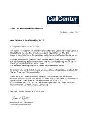 Das CallCenterProfi-Ranking 2012 Sehr geehrte Damen und ...