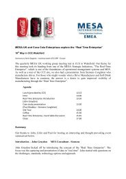 "MESA UK and Coca Cola Enterprises explore the ""Real Time ..."
