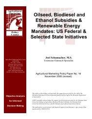 Oilseed, Biodiesel and Ethanol Subsidies & Renewable Energy ...
