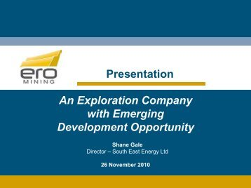 An exploration company with emerging development ... - SA Explorers