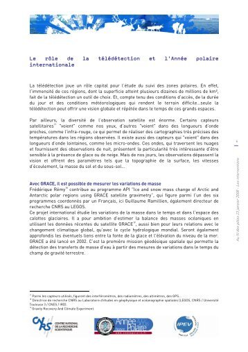 Le rôle de la télédétection et l'Année polaire internationale - CNRS