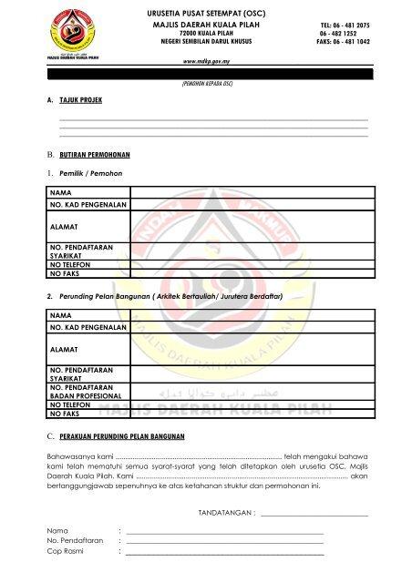 Borang Majlis Daerah Kuala Pilah