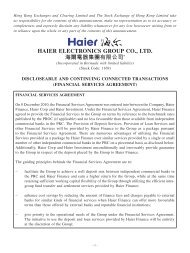 discloseable and continuing connected transactions - Haier