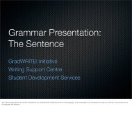 Grammar Presentation: The Sentence - Student Development Services